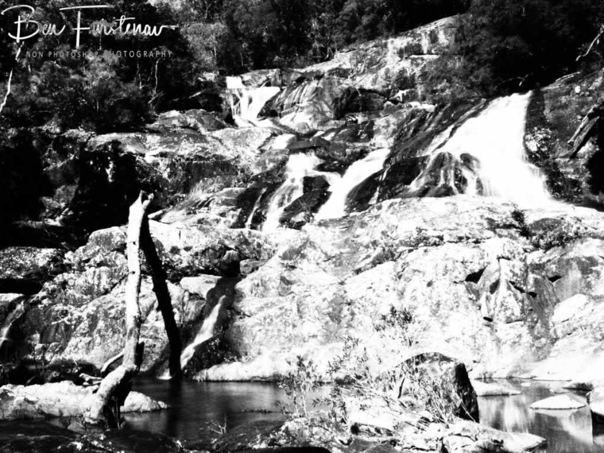 Black and white Birthday Creek Falls, Northern Queensland, Australia