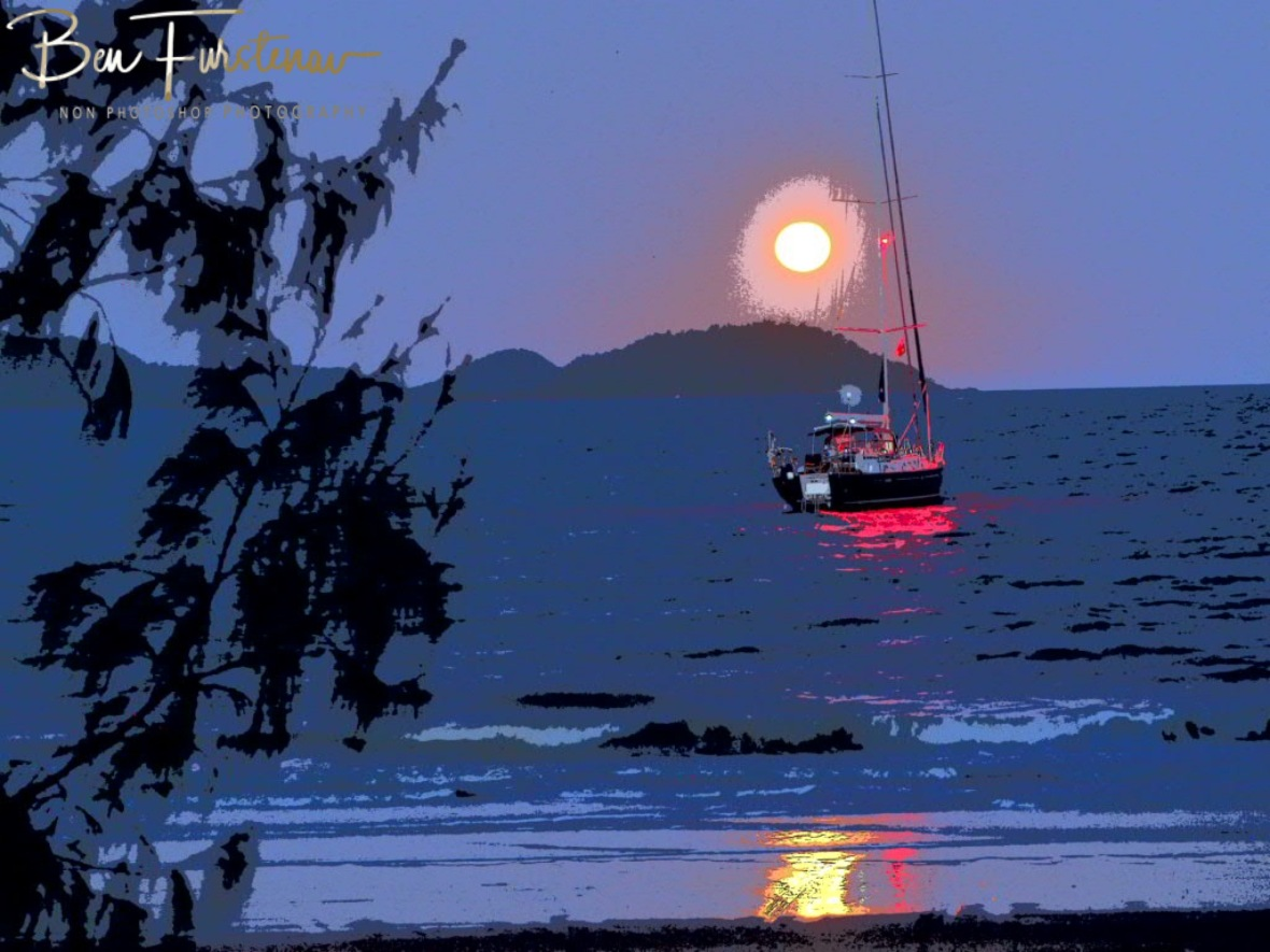 Tropical paradise lid up by full moon at Mission Beach, Tropical Queensland, Australia