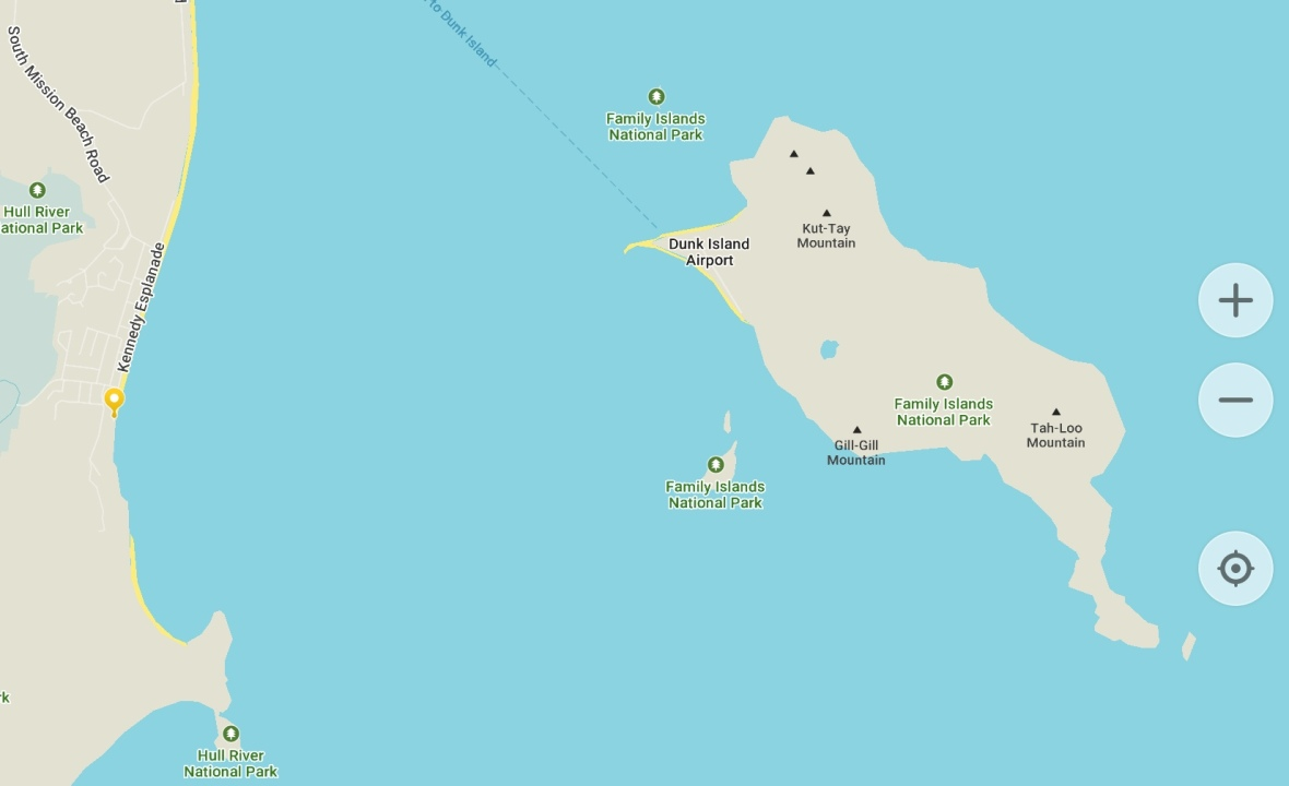 Route map to Dunk Island from Mission Beach, Tropical Queensland, Australia