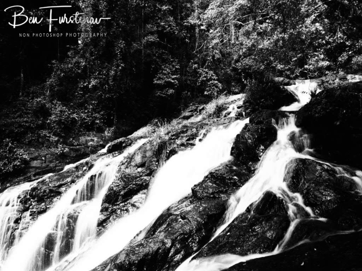 Dinner Falls sautés in black and white, Atherton Tablelands, Far North Queensland, Australia