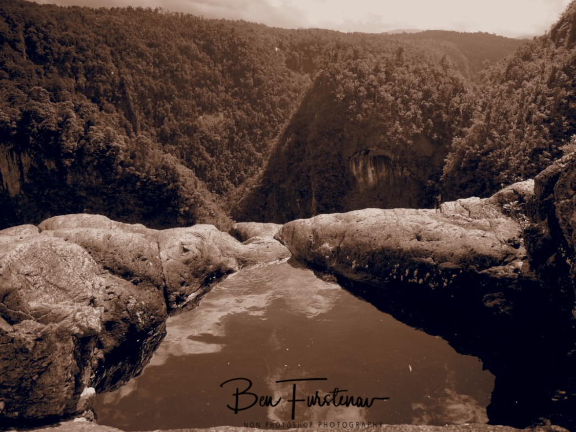 Tully Falls Drop off zone in sepia, Atherton Tablelands, Far North Queensland, Australia