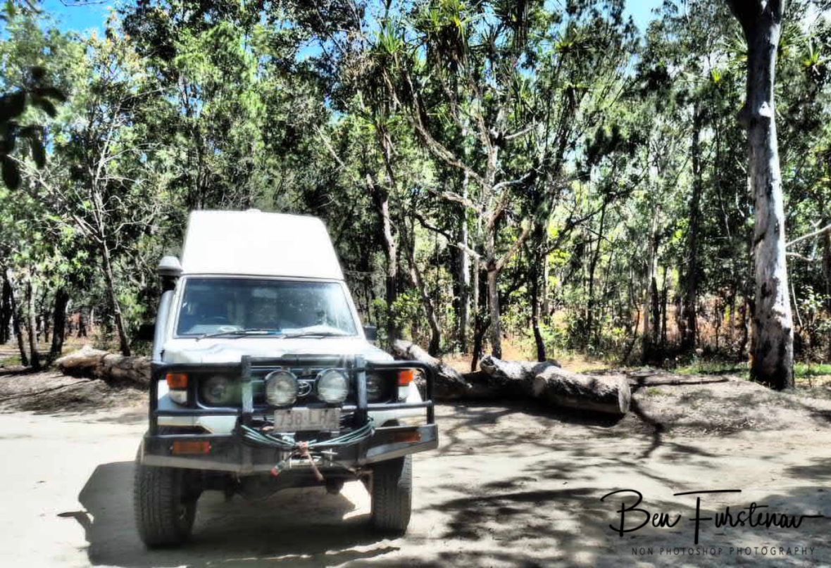 Dry and dusty camping area at Upper Davies Creek, Atherton Tablelands, Far North Queensland, Australia