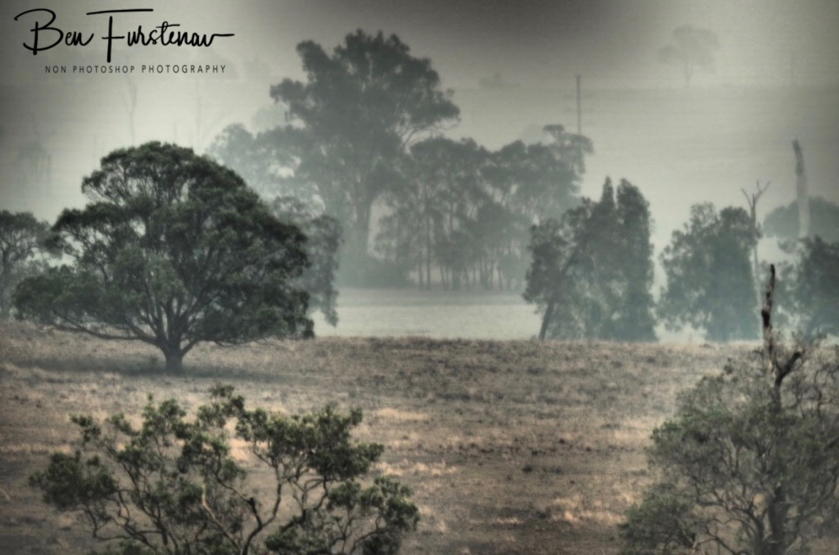 Smoke covered fields near Grafton, Australia, New South Wales,