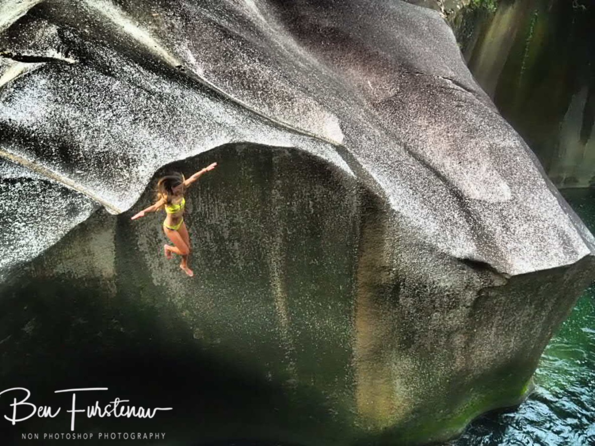 Boulder jumping in style at Babinda, Tropical Northern Queensland, Australia